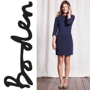 Boden WH716 Navy Blue Ottoman Shift Day Dress 8 L
